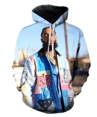 Amerikan Rapçi Nipsey hussle 3D Kapüşonlular Womens Kapşonlu Bahar Tasarımcı Kaykay Kazaklar Harajuku Sweatshirt'ler