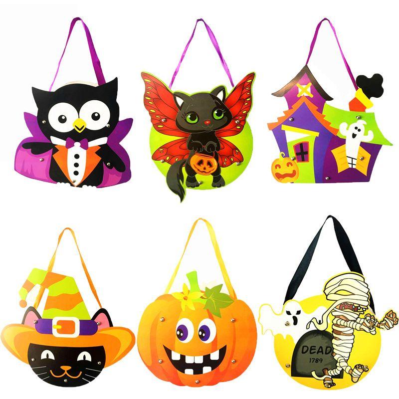 Niños Halloween DIY Bolsas de dulces Moda Bebé Cartón de dibujos animados Bolsa de regalo hecha a mano Bolsos de calabaza Decoraciones de fiesta TTA1726