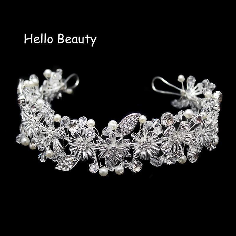 Handmade Silver Crystal Head Pieces Bridal Hair Accessories Bride Head Jewelry Rhinestone Vintage Leaf Tiara Wedding Headbands C18122501