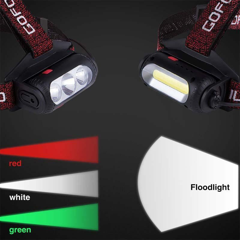 1 pc LED Lampe de travail USB rechargeable lampe de poche étanche avec baladeuses, Phares, Camping, randonnée pédestre,
