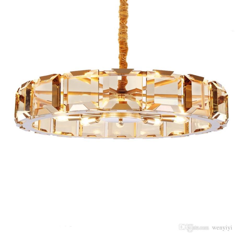 LED Luxury Modern Crystal Chandelier For Living Room High Quality Gold Hang Light Fixtures Round LED Lustres De Cristal 90-265V