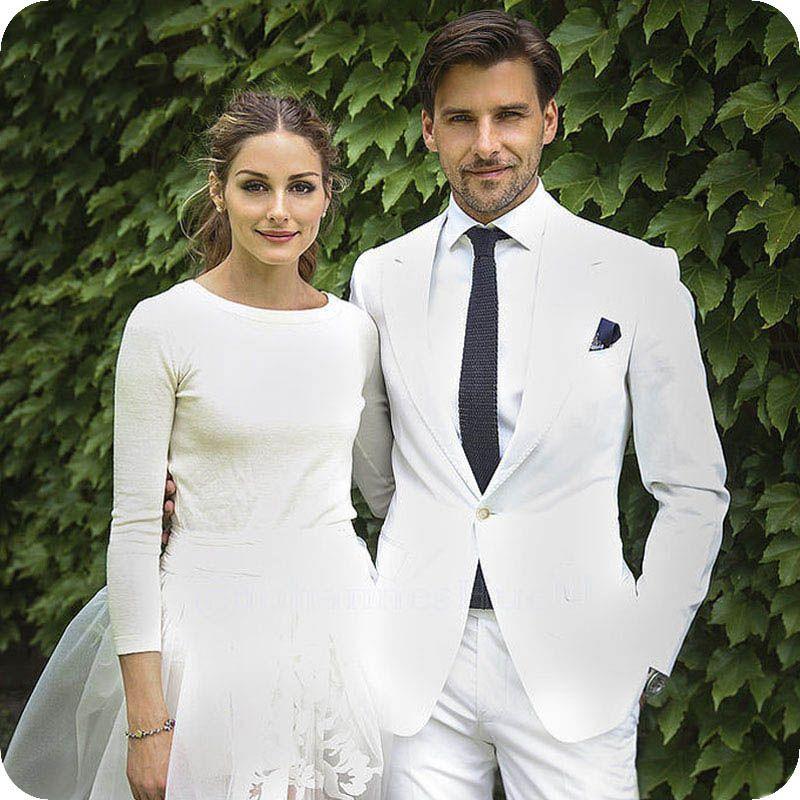 Summer Beach Custom Made Tuxedos White Ivory Men Suits Wedding Best Men Blazer Casual Groom Wear Groomsmen Party 2 Piece Jacket+Pants