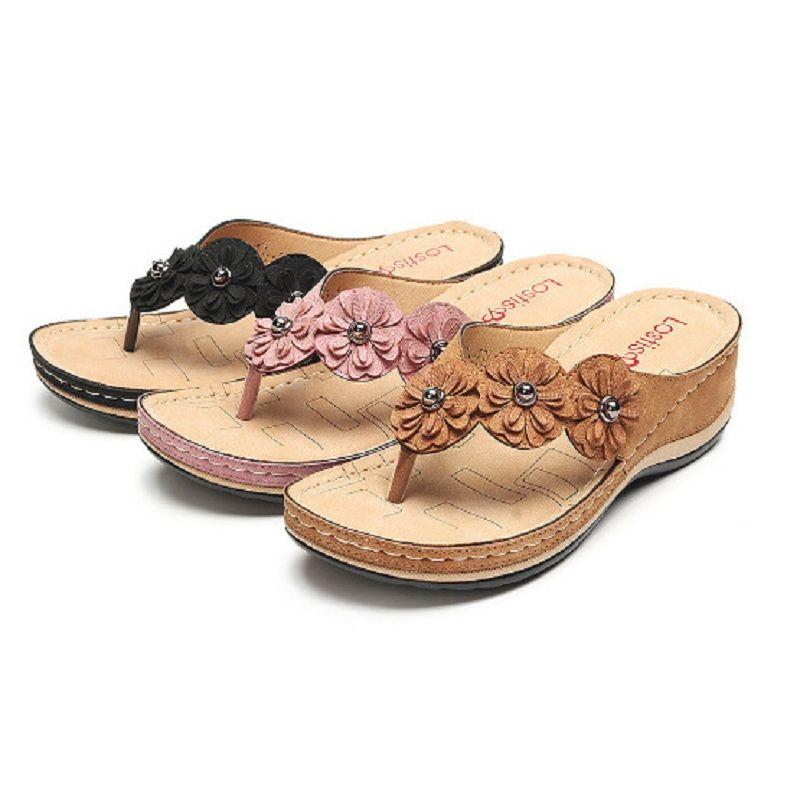 Sandales Fleur femmes 2020 été Wedge Chaussons Chaussures Femme Vintage Tongs Femme femme femme Sandales femme Diapositives Casual