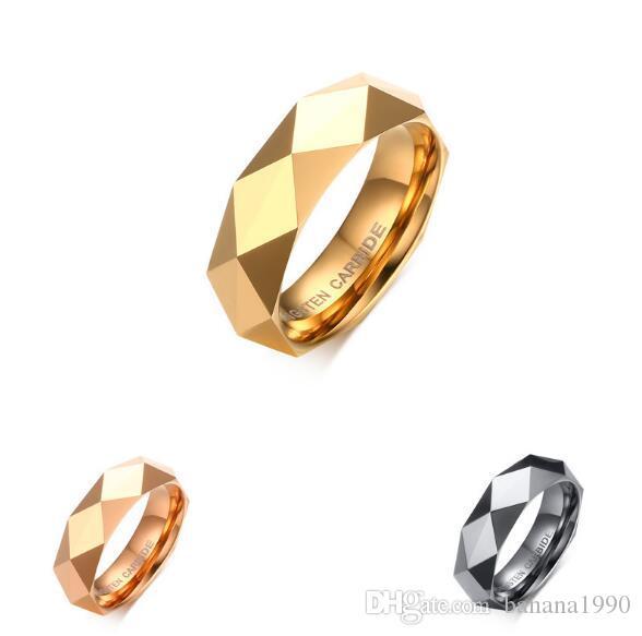 جودة عالية الفولاذ المقاوم للصدأ الرجال التنغستن خاتم فارغ سطيح هندسي بدون حجر الذهب ، وارتفع الذهب الصلب اللون