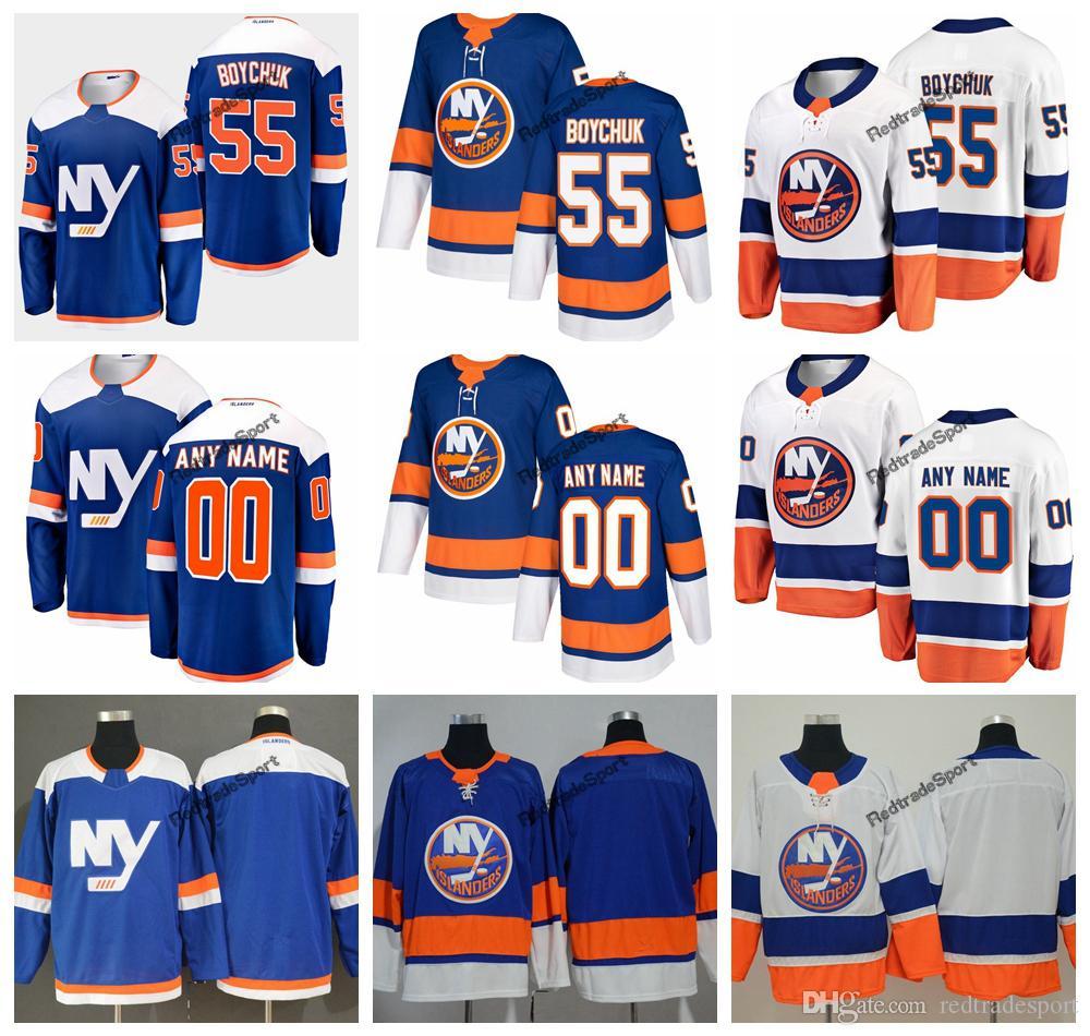 2019 Johnny Boychuk New York Islanders Hóquei Jerseys Mens Nome Personalizado Alternate Azul Casa 55 Johnny Boychuk Costurado Hóquei Camisas S-XXXL