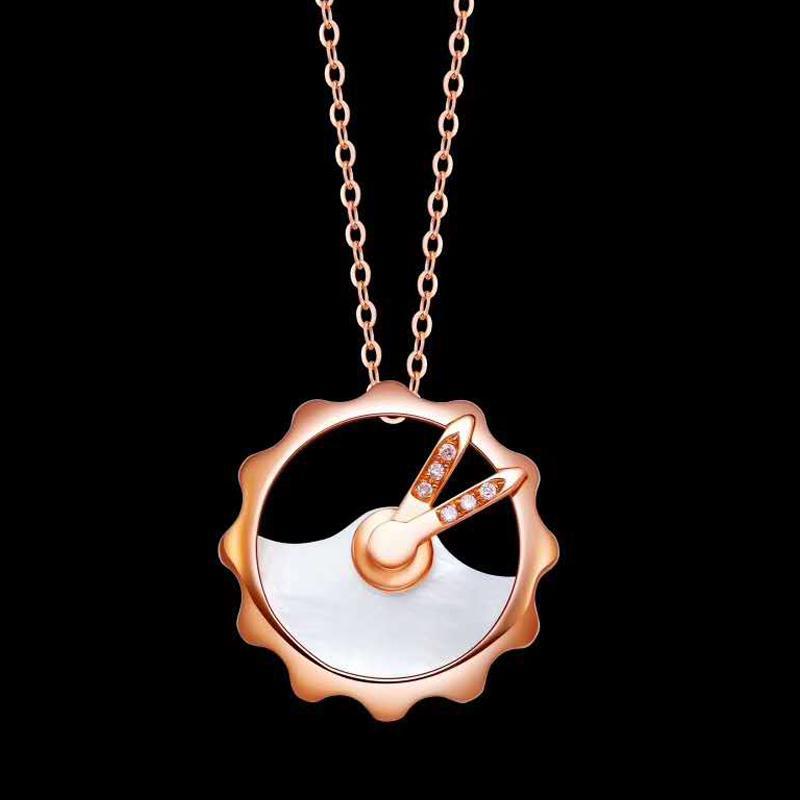 Rotonda collane pendente delle donne 18K diamante reale Clock White Opal festa di nozze di fidanzamento anniversario collane di compleanno