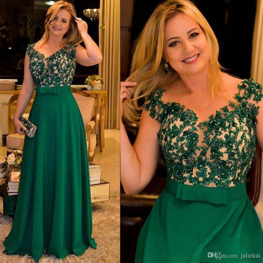 A Line Beading Green Mother Of Bride Dresses Applique V-Neck Cap Sleeve Floor Length Wedding Party Guest Evening Prom Gown Plus Size Liyuke