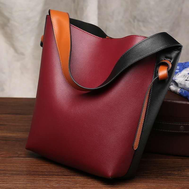 Ladies wine red Handbag Ladies Leather Cross-shoulder Large Shopping Bag European and American Retro Large Capacity Bucket Bag Tote Bag 0754
