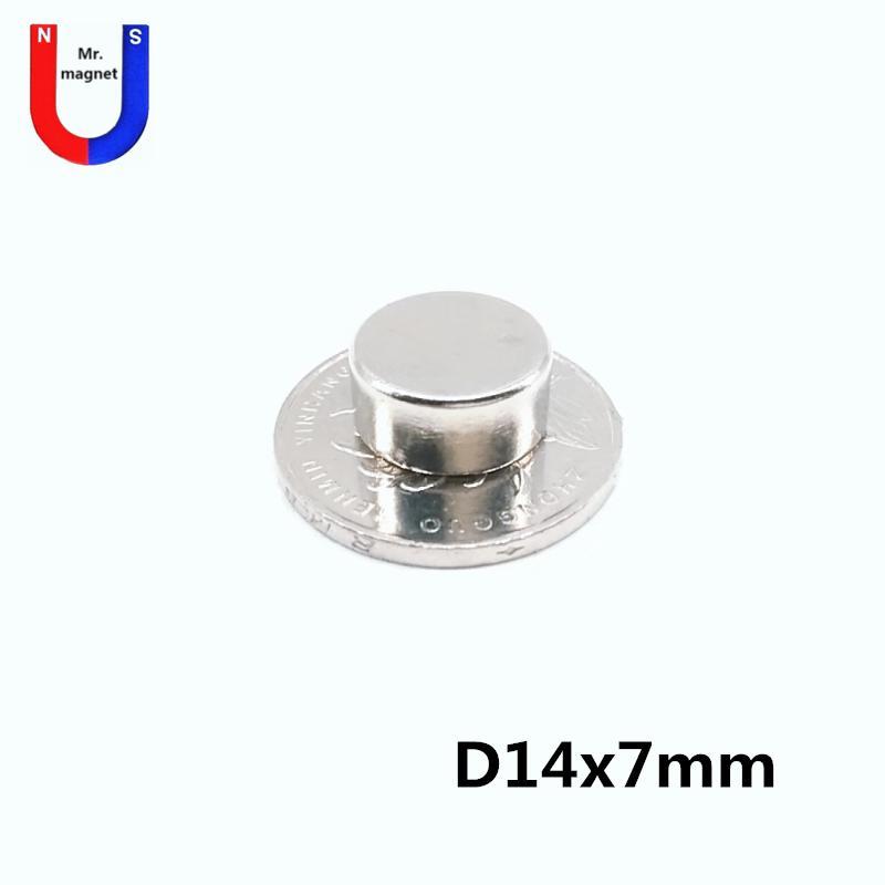 30pcs Sıcak satış D14 * 7 14 * 7 mm D14x7mm 14mmx7mm 14x7mm D14 * nikel ile 7 mm nadir toprak neodim mıknatıslar 14X7 14 * 7 NdFeB kaplama ücretsiz gönderim