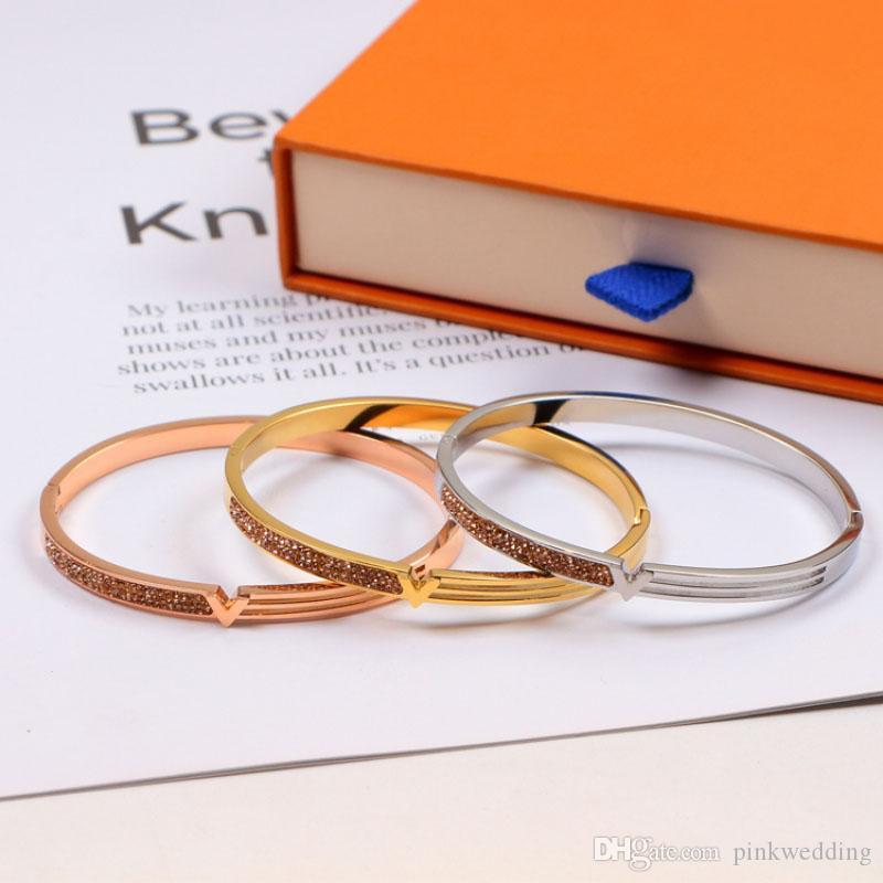 Personalità strass Wedding Party braccialetti d'acciaio di titanio di moda semplice lettera braccialetto Hip Hop Bracciali per regalo di compleanno