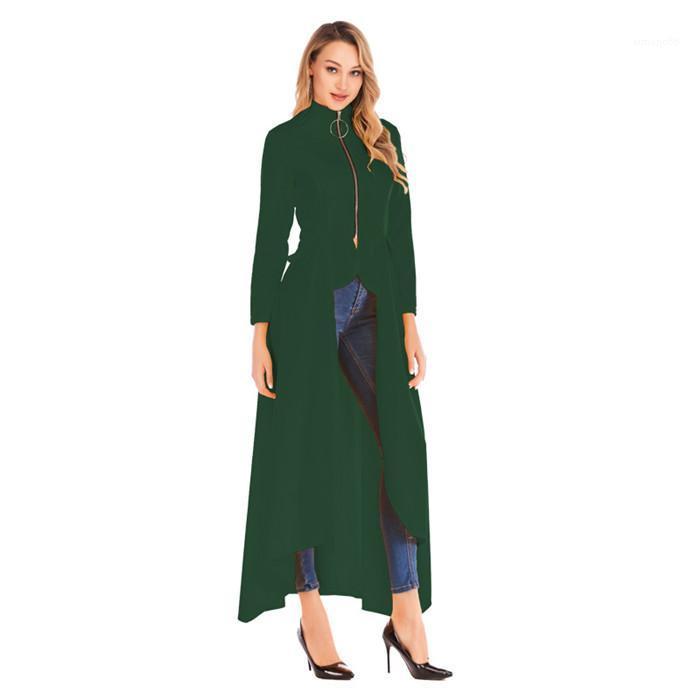 Mäntel Neue beiläufige Frauen Kleidung der Frauen Designer Trenchcoats Mode Irregularity Stehkragen Frühling Zipper Langarm
