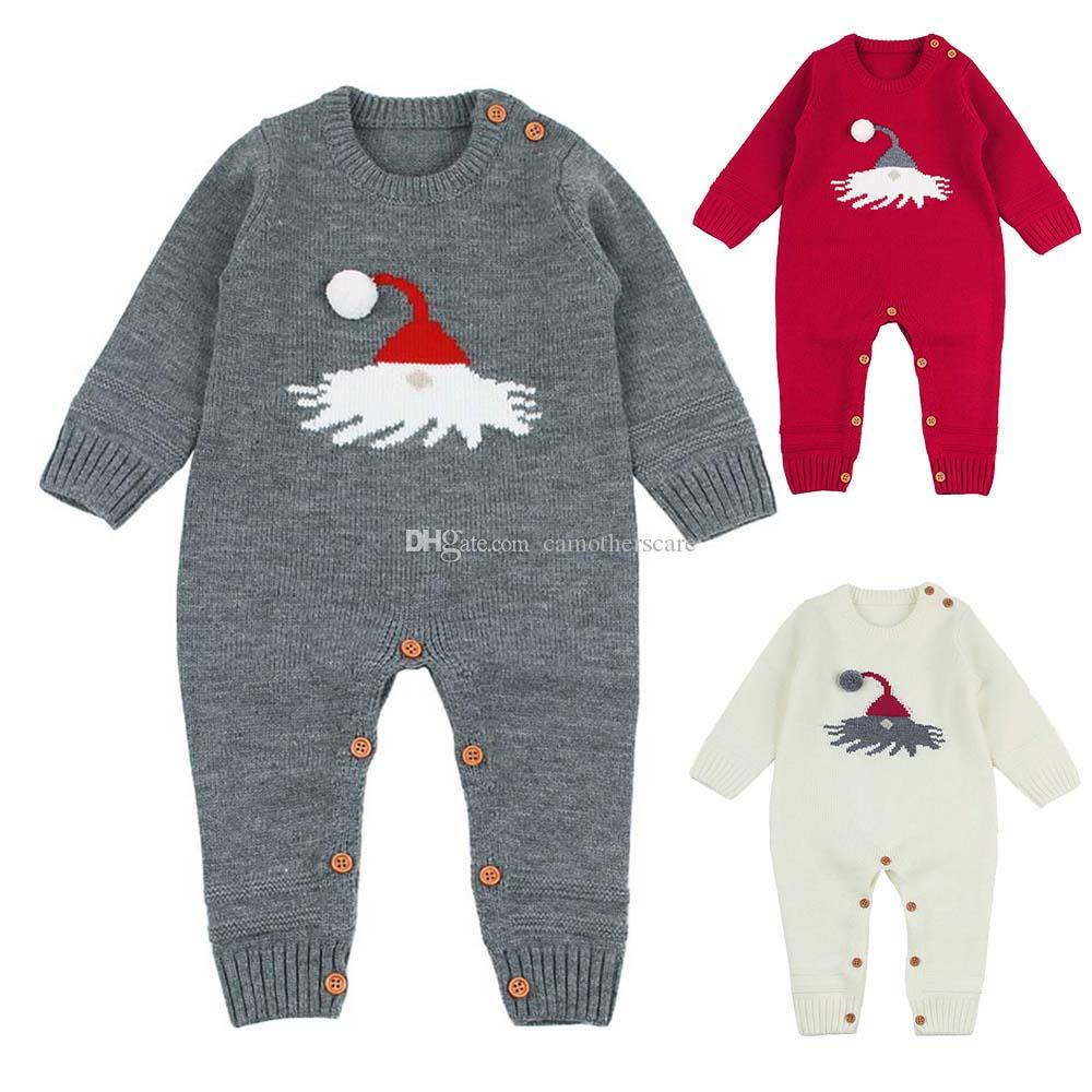 Christmas Baby Knitted Jumpsuit Bodysuit Newborn Infant Toddler New Year's Suit Body Child Kids for Boys Girls B0022 Spring Autumn 3 Colors