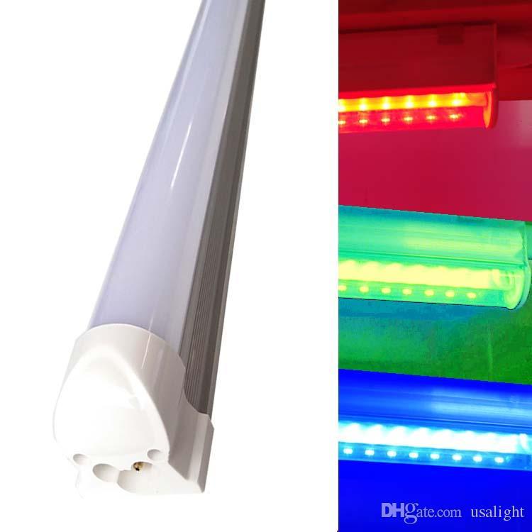 더블 행 적색,녹색,청색 노란색 T8LED 관 빛,서리로 덥은 유백색 커버,1Ft2Ft3Ft4Ft6Ft8Ft,화려한 led 조명
