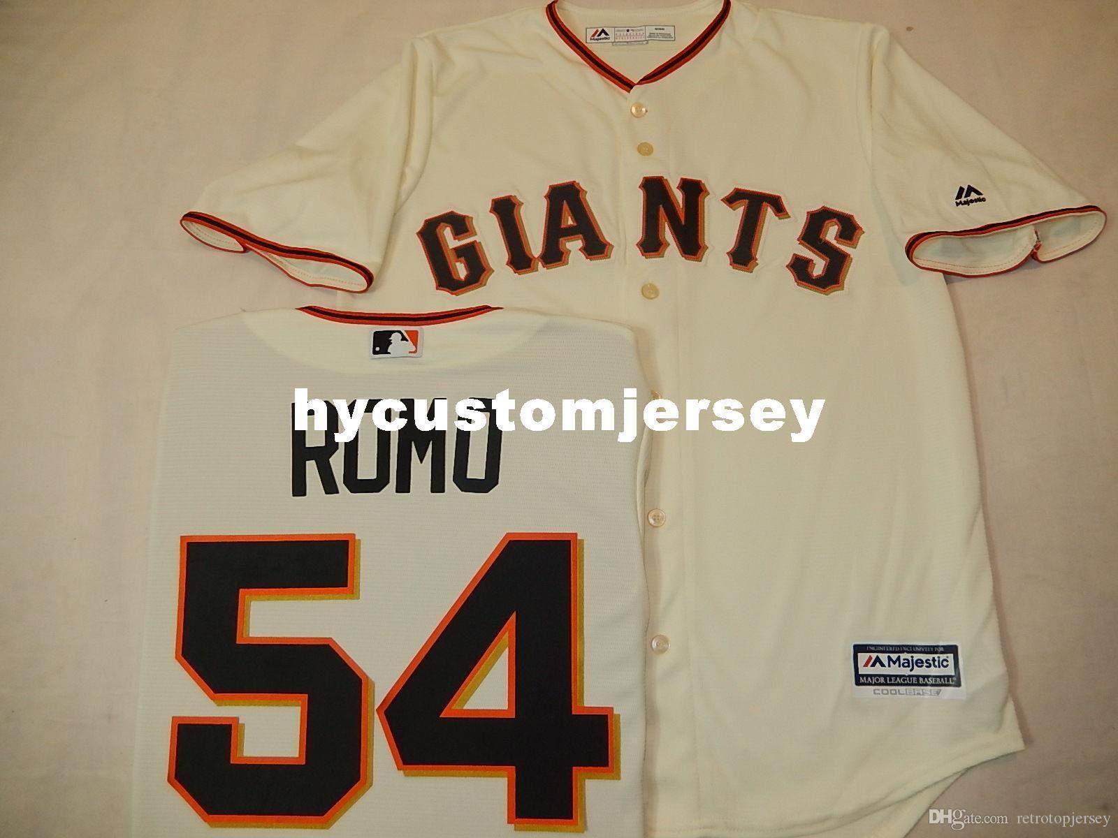 Pas cher sur mesure MENS MAJESTIC # 54 Sergio Romo Baseball JERSEY Mens maillots piquées CREME Big and Tall TAILLE XS-6XL à vendre