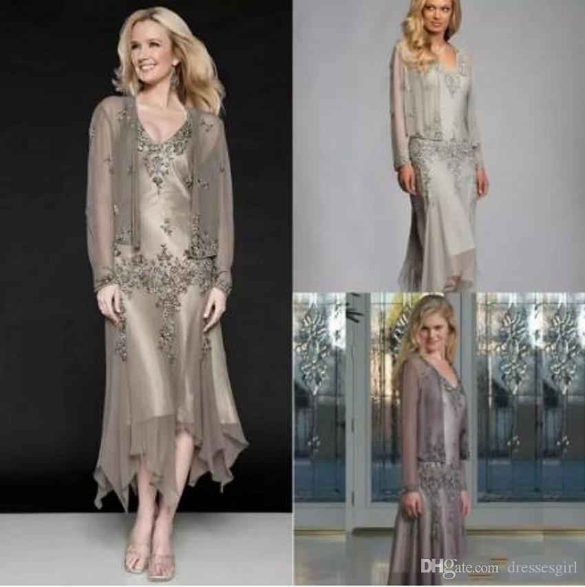Hot Sale Cheap Mother of the Bride Dresses With Coat Chiffon Lace Appliqued Long Sleeves Mother Evening Gowns Tea Length 25397