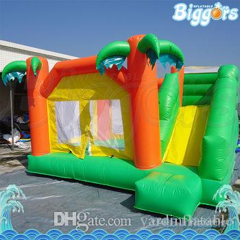 YARD PVC tarpaulin Outdoor Inflatable Bouncey Castle Palm Tree Inflatable Bounce House with Jumping Water Slide For sale