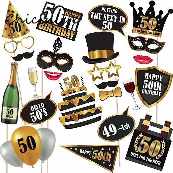 Chicinlife 24pcs / lot Happy 30 40 50 60ème anniversaire photomaton les accessoires anniversaire anniversaire fête décoration ballon de confettis
