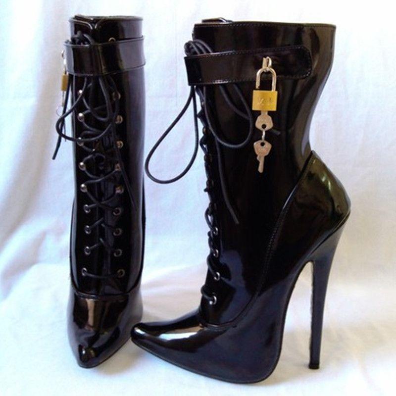 중국 플러스 사이즈 슈즈 37-50 섹시한 블랙 지적 발가락 레이스 업 앵클 부츠 여성용 열쇠 춤 신발 코스프레 유니섹스 신발