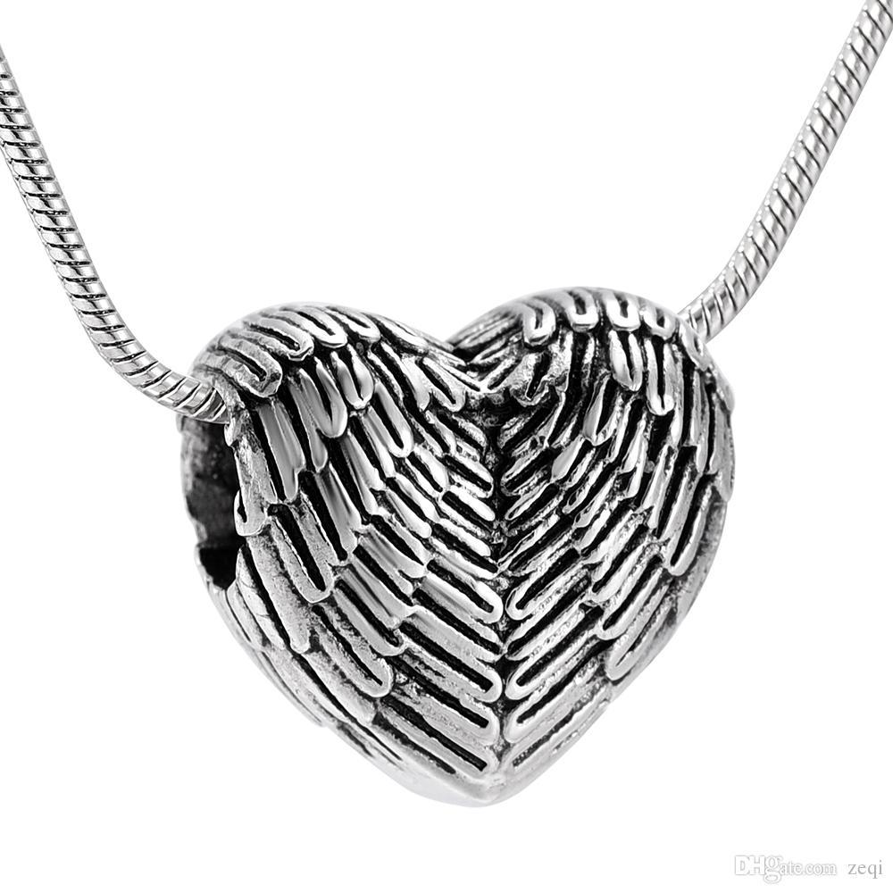 IJD9990 Angel Wings Herz-Form-Asche-Halter Aufbewahrungs Memorial Einäscherung Urn Halskette Personalisierte Anhänger Ashes Andenken Schmuck