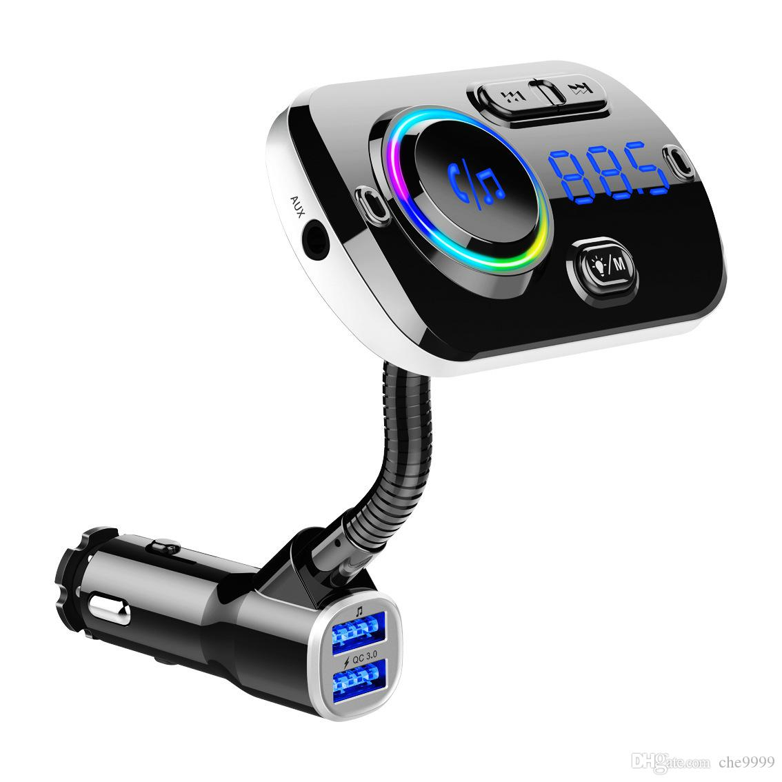 BC49AQ Bluetooth Car Charger Wireless Car Kit Mp3 Player Lcd Display Hands Free Calling Fm Support 2 Mobile Phones Connection