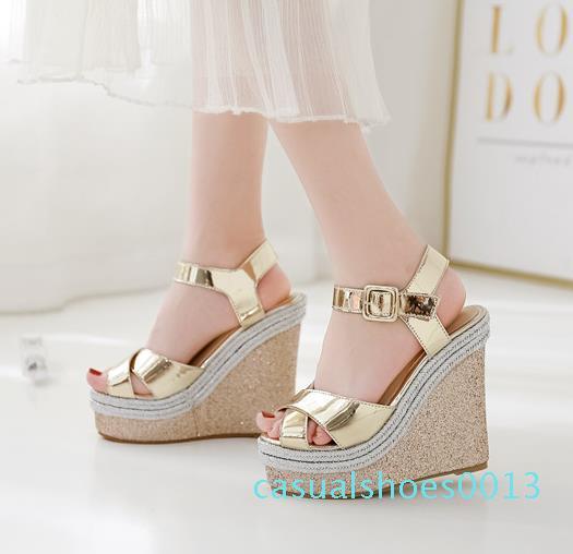 Sıcak satış-topuklu beyaz altın haç kayış kama ayakkabı platformu yüksek topuklu moda lüks tasarımcı bayan ayakkabı boyutu 35-40 13c