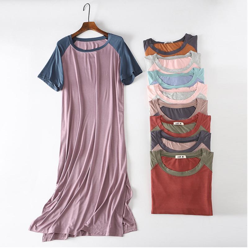 Las mujeres del vestido del verano modal ocasional del contraste del color flojo del O cuello camiseta larga de vestir Vestidos Dividir camisa de dormir atractiva de los vestidos