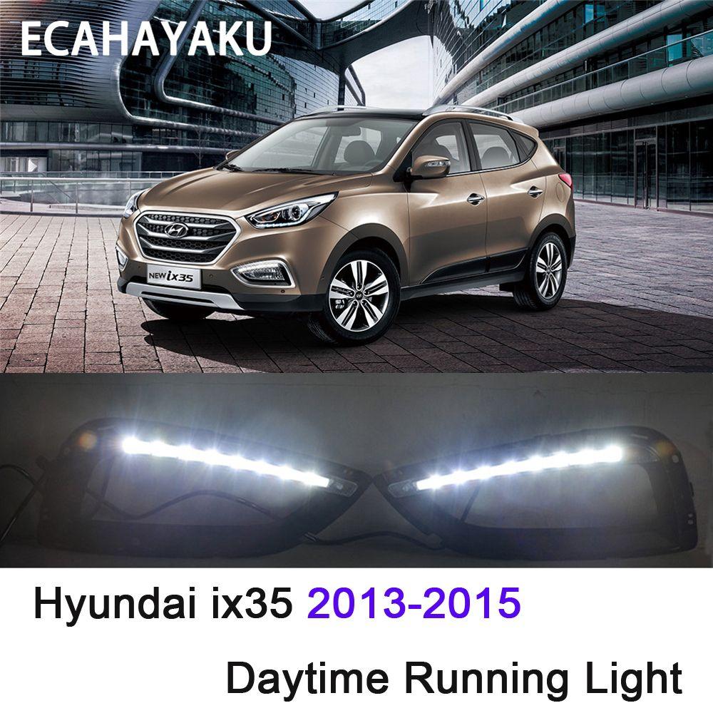 ECAHAYAKU Süper parlak Su Geçirmez araba ışık 12 V LED DRL Gündüz Farları Hyundai IX35 için sis lambası delik ile 2013 2014 2015 OFF-ROAD