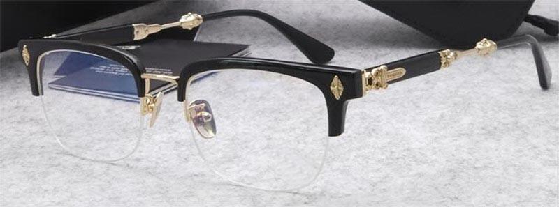 Luxe Nouveaux hommes rétro populaires Les verres optiques design de style rétro punk EVA cadre carré avec boîte en cuir de qualité supérieure de la lentille HD