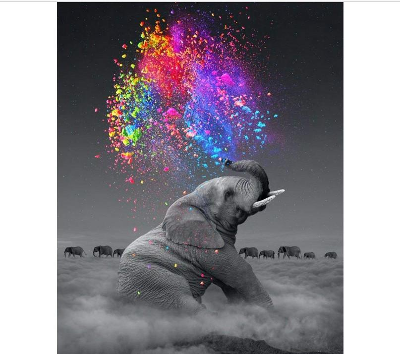 Hot DIY 5D Diamond Painting by Number Kit for Adult Full Drill Diamond Embroidery Dotz Kit Home Wall Decor-30x40cm Elephant