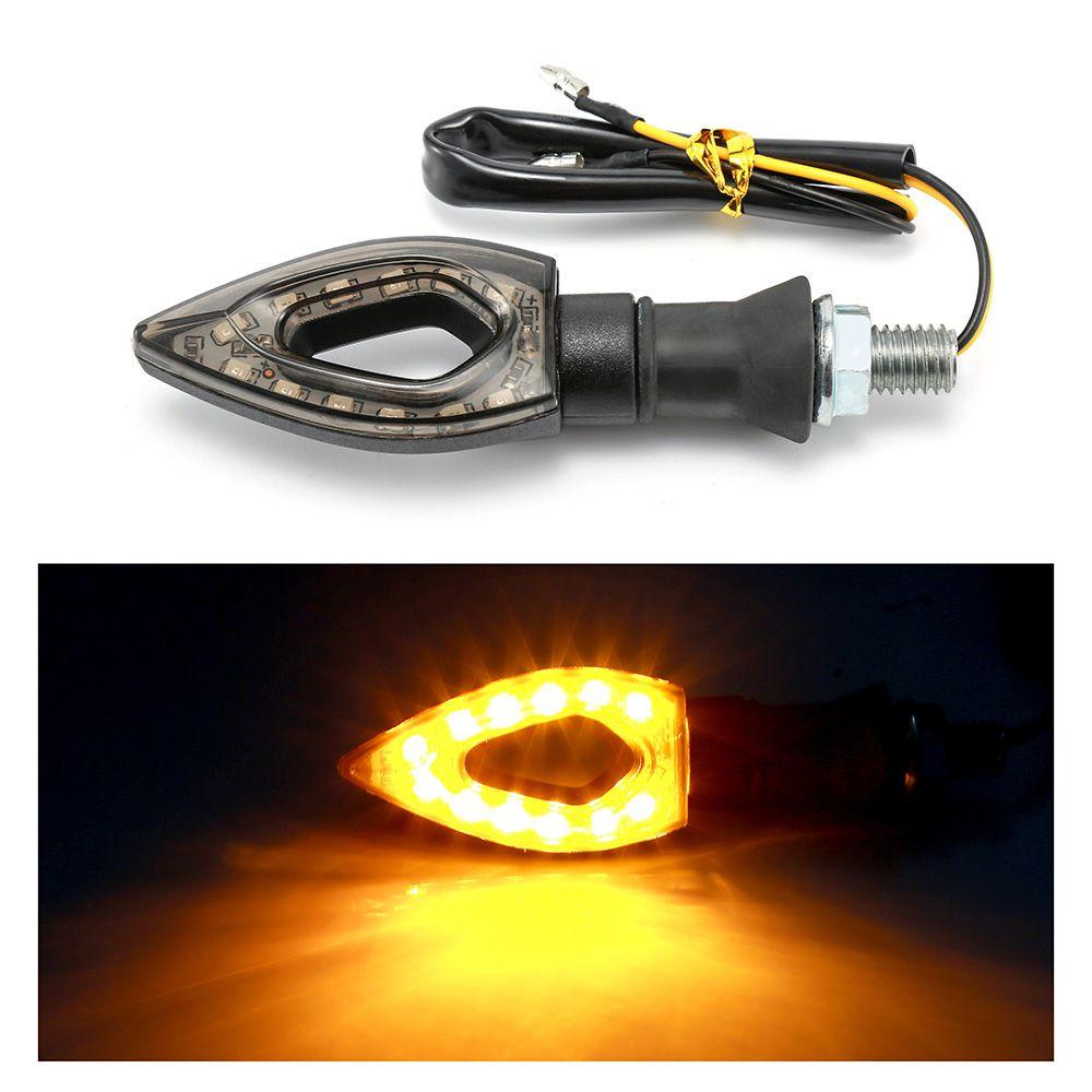 2pcs Universal Flashing Motorcycle LED Black Amber Turn Signal Lights LED Blinker Indicator Light Moto Bike Lamps 12V