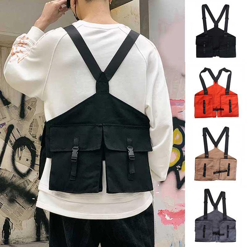 Mens Fashion Peito Sacos da Cintura Sacos Hip Hop Streetwear Funcional Tactical Peito Bag Cruz Bolsas de ombro multi bolso punk fresco Backpack