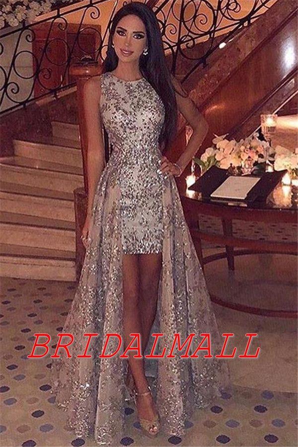 Vestido de fiesta de graduación 2020 oro paillettes Alto Basso Prom Dresses Appliqued Pizzo Abiti Da Sera Formale economici Cocktail Party Dress