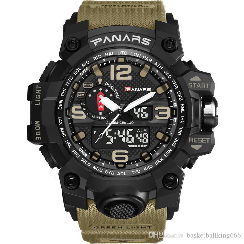 de camuflagem táticos homens do relógio digital PANARS Proof Moda Sports Exército Assista Água de pulso eletrônico LED relógios com caixa