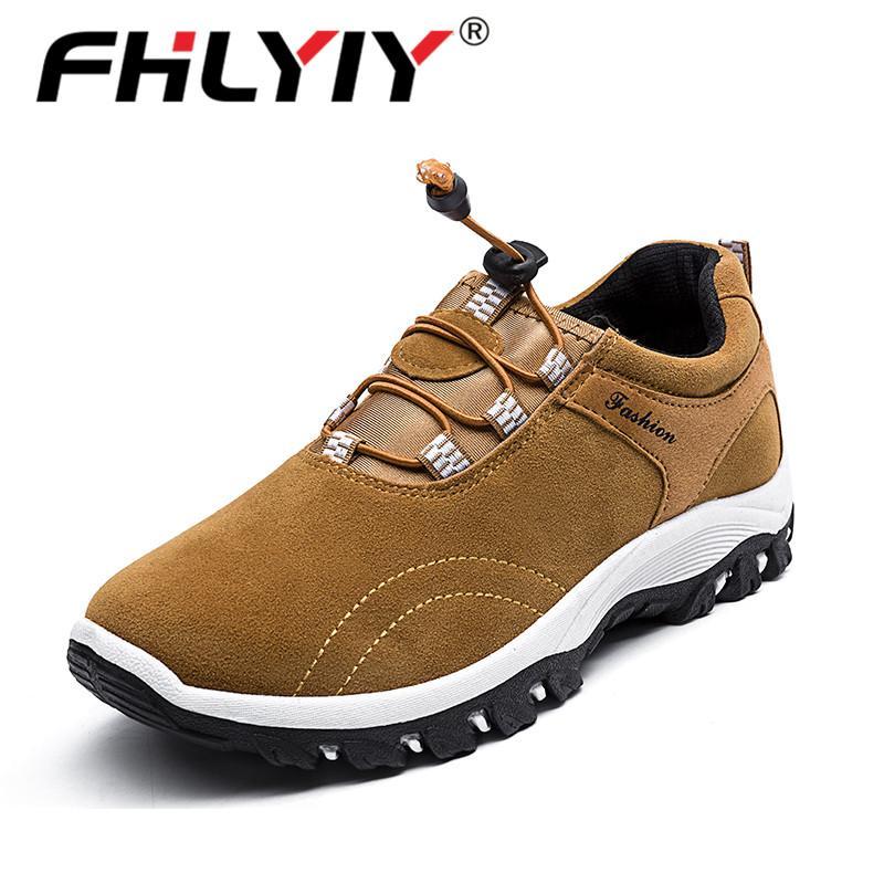 Fhlyiy вскользь тапки Открытого Мужчина кожаные ботинок Удобной мужская Осень Обувь Кожа Мужчина / Обучение Обувь BROWN
