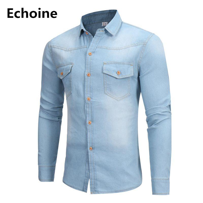 Men Long Sleeve Denim Shirt Blue Denim Casual Shirt for Male Jeans Cardigan Casual Fashion Two-pocket Slim Fit Long Sleeve