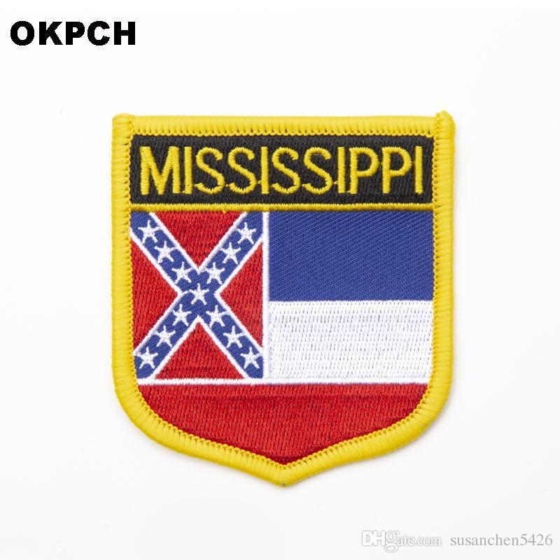 미국 미시시피 주 배지에 철 의류 스티커에 대 한 수 놓은 옷 배지 의류 1pcs 6 * 7cm
