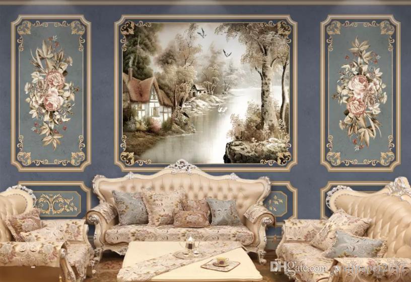 3D обои синий выдающийся винтажный арт лив фон росписи стены гостиной спальня домашнего декора обои для стен 3D Papel де Parede