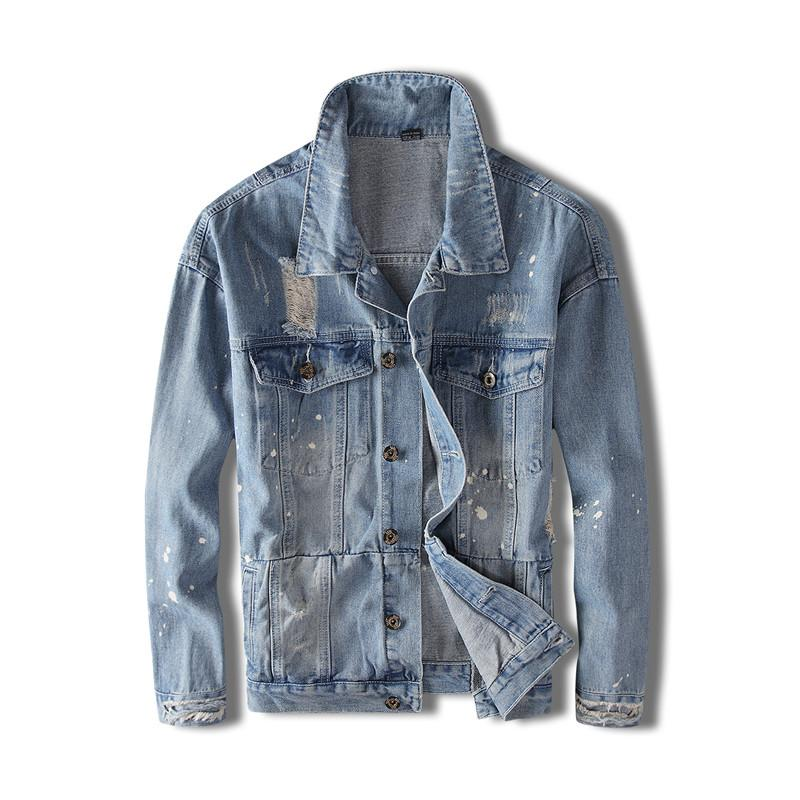 MORUANCLE Erkekler Delikli Jean Ceket Boyalı tahrip Merhaba Sokak Baskılı Denim Trucker Ceket Dış Giyim Mavi Yıkanmış Ripped