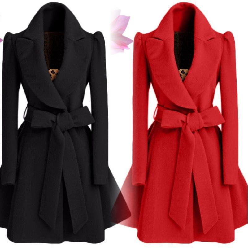 Office Lady Long Wool Coat Bat Sleeved Wool Blend Coat and Jacket Turn-down Collar Women Coats Autumn Winter