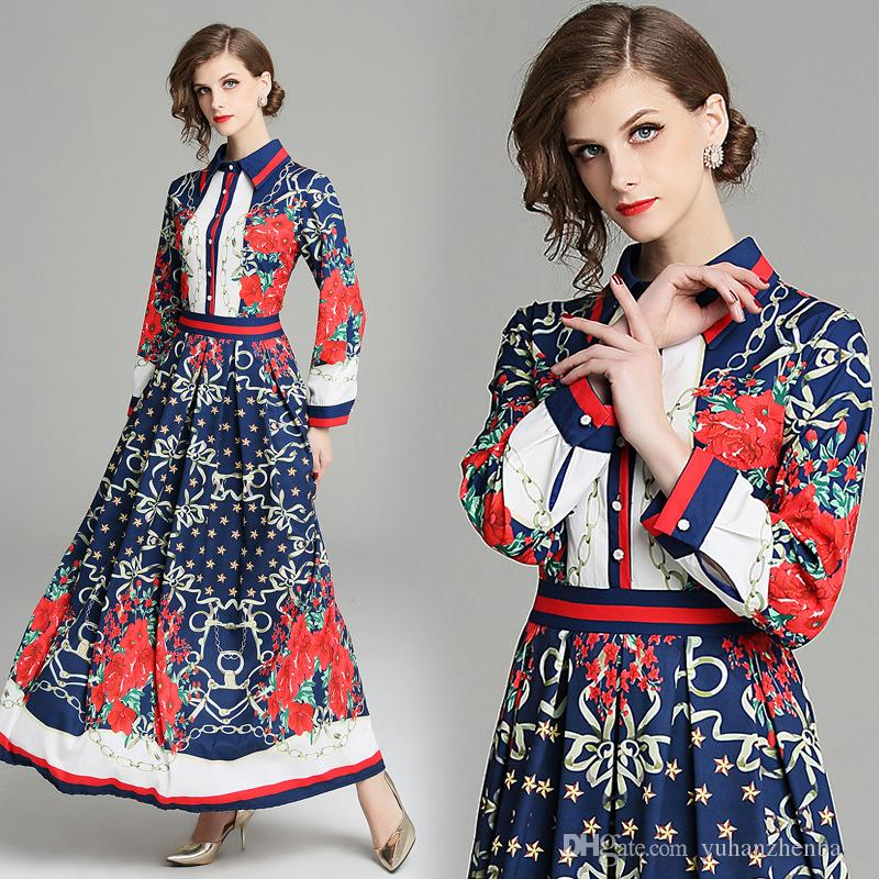 New Refined Women's Floral Clubwear Wrap Party Dresses Office Lady Commuter Collar Long Sleeved Sexy Slim Printed Pleated Dress