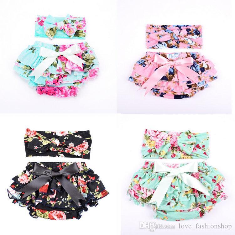 11 цветов Детские цветочные печатные шаровары с оголовье малышей младенца трусиков Блумер PP брюки нижнее белье девочки трусиках дети бутик одежды