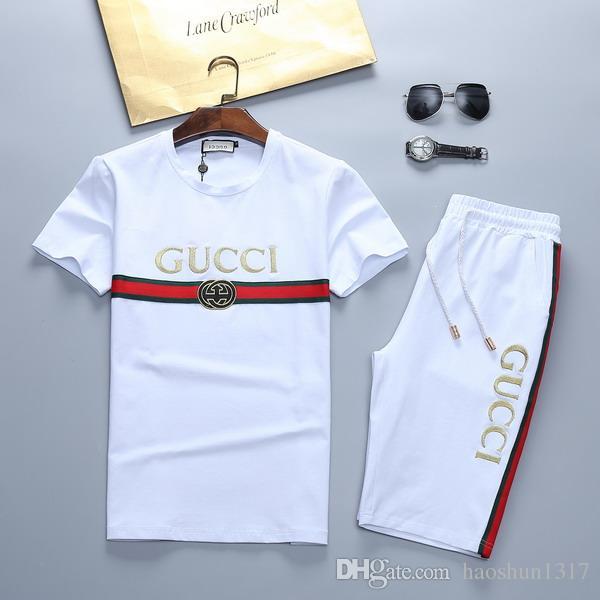 2020 Mens Designer Mode Anzug Letters Stickerei Luxus Sommer Sportswear mit kurzen Ärmeln Pullover Jogger Hosen Anzüge O-Ansatz Sportsuit