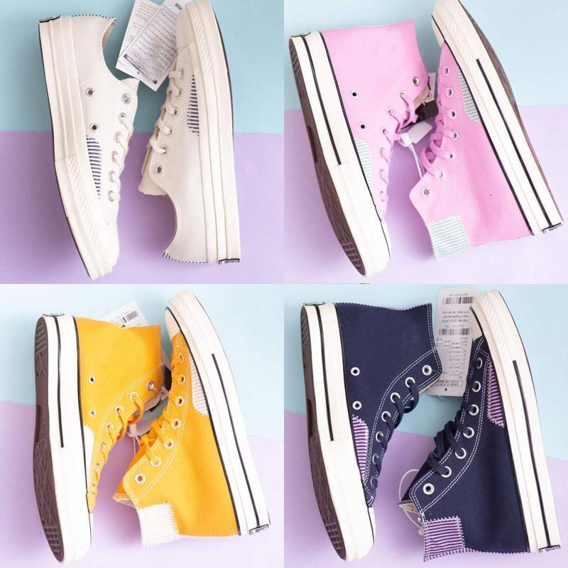 Cheap Original 70S LOOKBOOK Star Classic Brand old skool men women canvas sneakers white pink blue yellow fashion skate casual shoes 352077#
