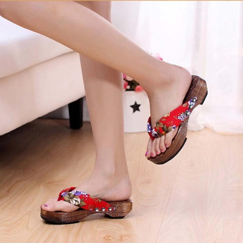Женская обувь Летние сандалии платформы обувь Вуд женщин сандалии сабо деревянные тапочки Вьетнамки Casual пляж для дам