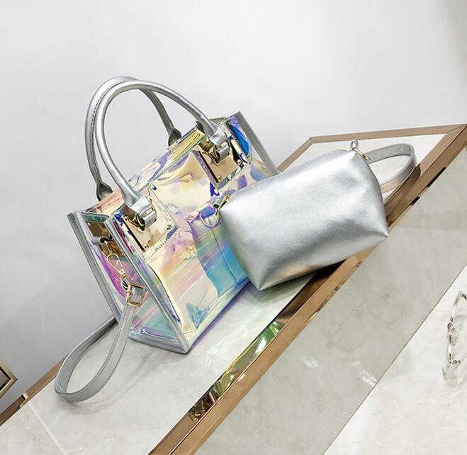 Crossbody Laser Designer trasparente dell'ologramma delle borse delle signore di nuovo modo di borsa femminile del PVC Big Tote Bag Ragazze Chiaro Laser borse / 4