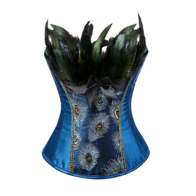 S-6XL corsetti piume di pavone bustier superiore del broccato del ricamo burlesque halloween overbust modello corsetto delle donne sexy MX200506 esotica