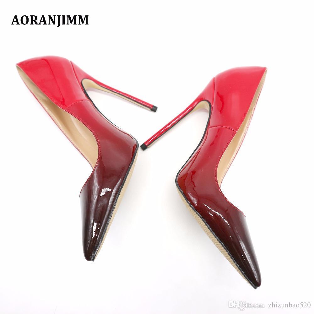 Повседневная дизайнер сексуальная леди мода черный красный лакированная кожа острым носом женщины леди 120 мм туфли на высоком каблуке весна Марка насос на продажу 10 см 8 см