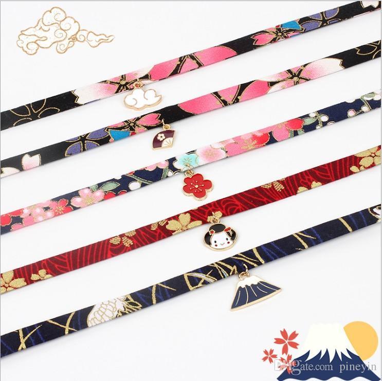 visión de moda collares de gargantillas de moda Cinta con collar colgante chapado en oro joyería de gargantilla modelo no. NE939-1