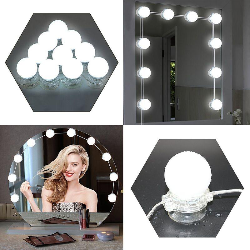 10 LED Ampuller Ayna Makyaj Makyaj Ayna Işıkları LED Lamba Kiti Lens Far LED Ampuller Kiti DIY Makyaj Lambası Işık