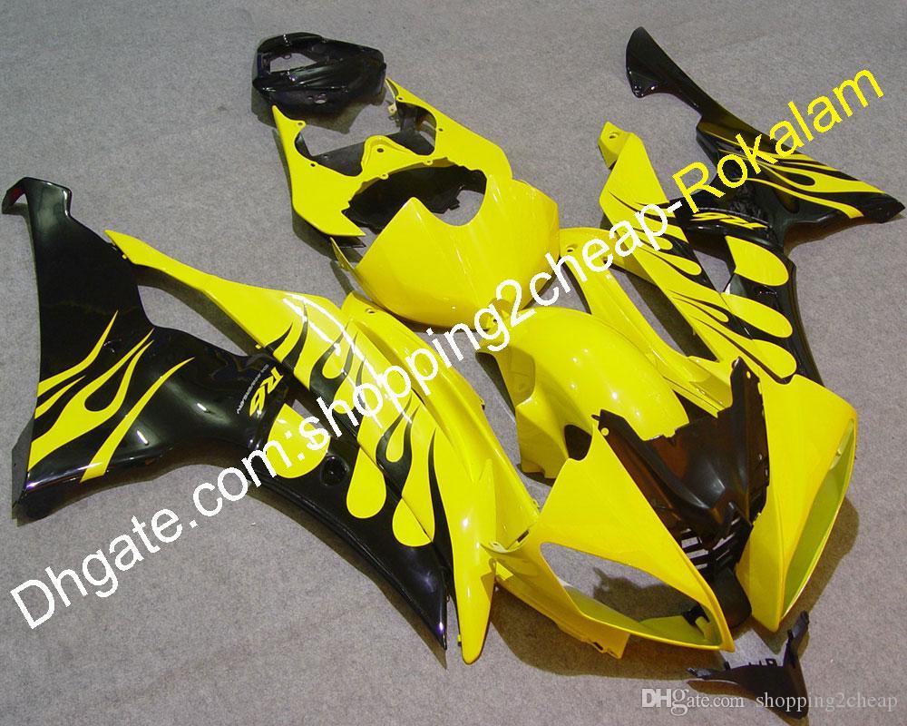 For Feedings de Yamaha YZF600 R6 2008 09 10 11 12 13 14 15 2016 YZF-R6 YZFR6 Amarelo Black Motorcycle Fairing Set (moldagem por injeção)